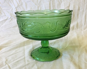 Vintage E O Brody Emerald Green Glass Compote, Candy Dish