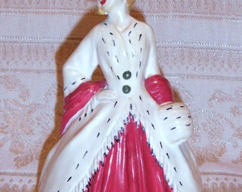 Vintage Lady Chalkware Figurine Collectible