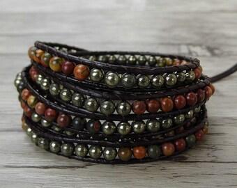 BOHO bead Wrap bracelet Picasso Jasper bead bracelet pyrite bead bracelet Leather wrap bracelet gemstone wrap bracelet bead Jewelry SL-0416