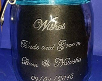 Personalised Wedding Wishes Jar,Engraved Wedding Gift, Bride & Groom Wishes Jar, Personalised Wedding Guest Book Alternative Gift