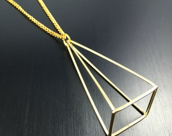 Pyramid Pendant Necklace in Gold or Silver