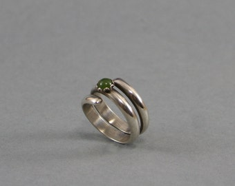 Snake Like Silver Ring with Jade stone    Finger Wrap Silver Ring