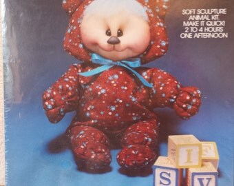 Vintage Valiant Crafts 1982 - Zoogle Baby Bear Soft Sculpture Animal Kit - New