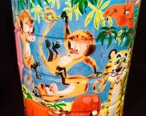 Coffee Tin with Jungle Animal Theme; 60s Coffee Tin; Jungle Themed Coffee Tin; Vintage Coffee Tin; Children's Room Decor