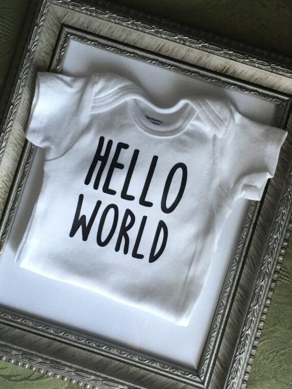 Go Hello World: Hello World Onesie Baby Bodysuit Hello World Newborn