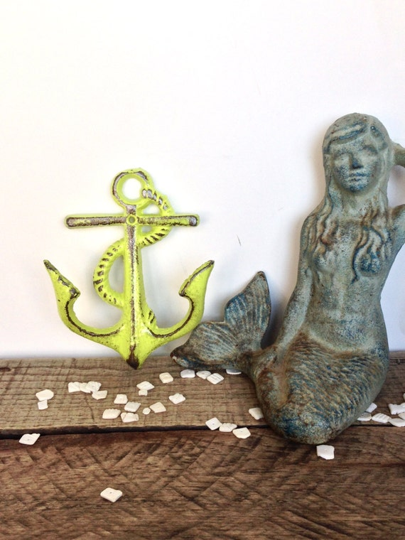 Lime green anchor hooks nautical decor bathroom wall art for Lime green wall art
