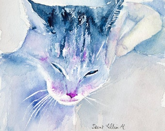 Original purring cat watercolor - original purring cat painting - blue and pink cat watercolour