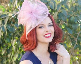 Pink Fascinator, Blush Pink, British Hat, Womens Tea Party Hat, Church Hat, Derby Hat, Fancy Hat, Pink Hat, Tea Party Hat, wedding hat