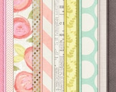 Rosy Little Thoughts - Spring Digital Papers - 12 x 12 - Scrapbooking Pack