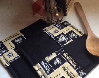NHL Pittsburgh Penguin Hot Pads-Pot Holders, kitchen, dining, hockey, sports, handmade