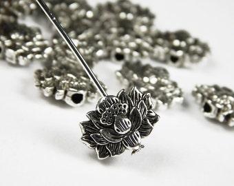 10 or 25 Pcs - 11x8mm Tibetan Silver Lotus Flower Spacer Beads - Metal Spacer Beads - Jewelry Supplies