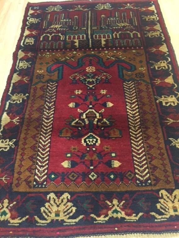 """2'8"""" x 4'4"""" Afghan Turkeman Oriental Rug - Hand Made - 100% Wool Pile"""