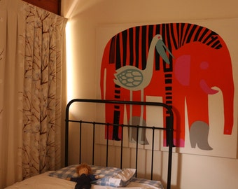 Marimekko 100% cotton fabric made in Finland stretched on timber frame