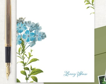 personalized notePAD - FORGET ME NOTS - floral stationery - feminine stationary - flower notepad - botanical