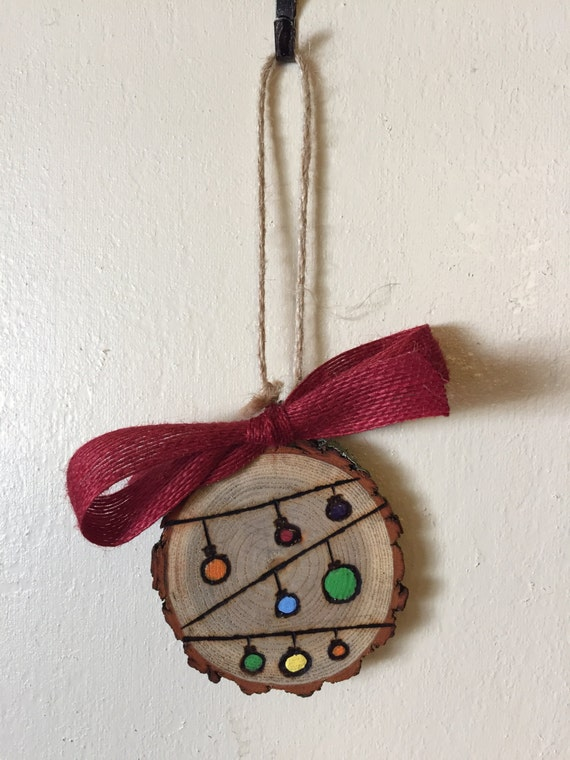 Wood slice ornament string of ornaments wood burning hand - String ornaments christmas ...