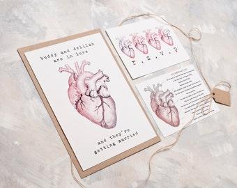 Anatomically Correct Heart Wedding Invitation - Invite Suite sample
