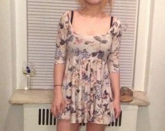 Grunge Floral Print Babydoll Dress