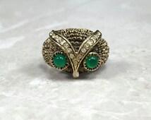 Vintage Owl Ring, Owl Statement, Statement Ring, Adjustable Statement, Rhinestone Owl, Owl Ring, Retro Statement, Vintage 60s, 60s Ring
