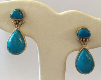 Gold Over Sterling Silver Vermeil Turquoise Dangle Pierced Earrings