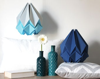 Silver grey and Sky blue origami lamp | cute geometric handmade pendant light | ideal lampshade for a  baby boy nursery or your sitting room