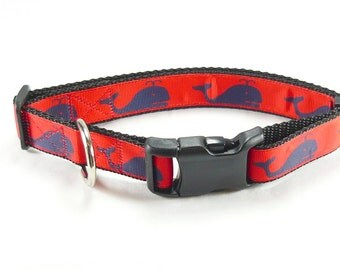 "Red and Navy Whale Dog Collar (3/4"" and 1"" widths) - Martingale - Small - Medium - Large - Extra Large"