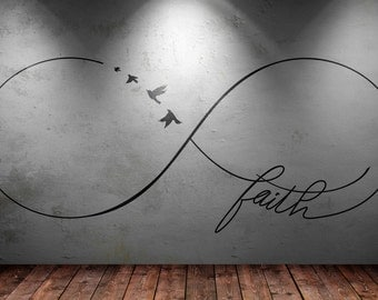 Infinite Faith wall decal sticker   Infinity mural collection   Birds Infinity Belief Confidence Hope Truth Acceptance Truthfulness Fidelity