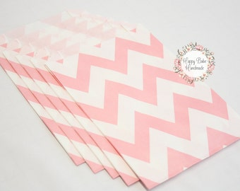 Pink Chevron Favor Bags, 4--3/4 by 7 Inches, 12 Bags, Chevron Favor Bags, Pink Favor Bags, Pink Wedding, Treat Bags, Favor Bags, Pink Bags