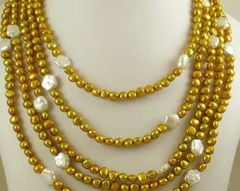 """Golden & White FreshWater Pearl Necklace,Sterling Silver Fish Lock 106"""" Long"""