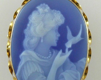 Cameo 30MM Blue Agate Lady Pin and Pendant 18k Yellow Gold