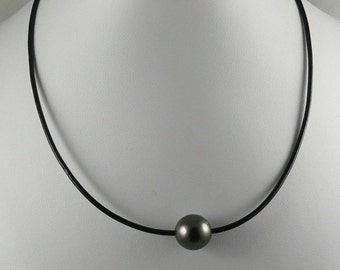 Tahitian Black Pearl with 18 Inches Black Cord Necklace and Silver Clasp