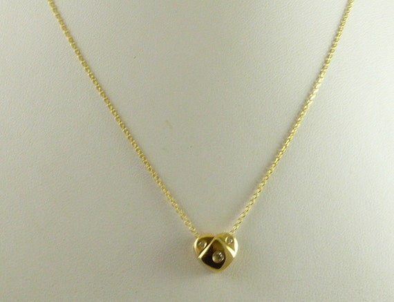 Diamond 0.10 ct Pendant With 14K Yellow Gold Chain, 18 Inches Long