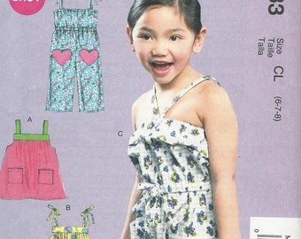 McCalls 6733 Sizes 6 - 7 - 8 Children's Girls' Dress, Rompers And Jumpsuit
