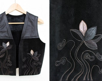 Black Leather /Suede Motorcycle Vest- Abstract Floral - Applique, Pyrography, Engraved - Signed