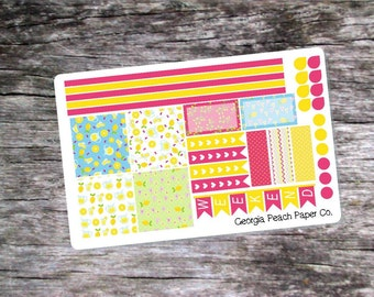Pink Lemonade Themed Planner Stickers-Made to fit Horizontal Layout