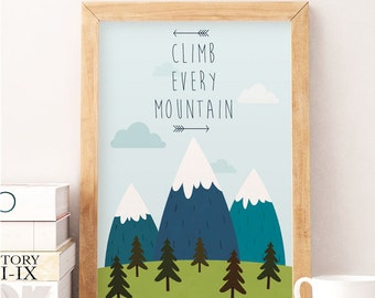 Nursery Illustration, Baby Wall Art, Climb Every Mountain, Nursery Decor, Baby Gift Kids Decor, Mountains nursery, Nursery print, Kids decor