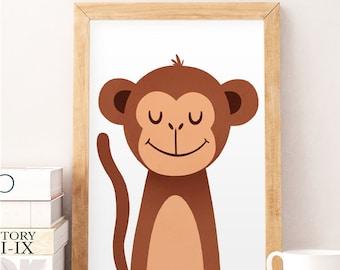 Monkey print, Monkey wall art, Safari nursery, Animals print, Nursery wall art, Nursery decor, Kids room decor, Cute animals art, Monkey