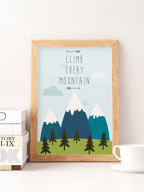 Nursery illustration baby wall art climb every mountain for Baby room wall decoration