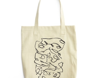 Abstract Minimal Hand-drawn Black and White Scribble Art printed on American Apparel Bull Denim Woven Cotton Tote Canvas Bag