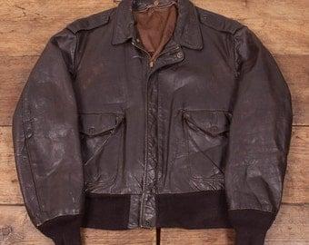 "Mens Vintage 1970s Schott Leather Flight Jacket Mens L 44"" R2875"