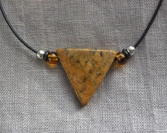 Soapstone necklace - triangle - Brown - gift -.