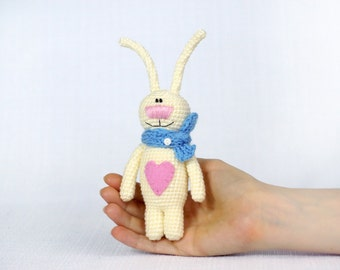 Stuffed bunny with heart Valentines gift for girl Plush bunny rabbit Girlfriend gift For her Stuffed animals Valentines day decor