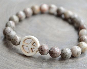 Peace Sign Bracelet Jasper. White Magnesite Peace bead. Yoga. Meditation. Mindful Jewelry.