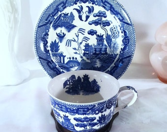 Vintage Blue Willow Cup and Saucer