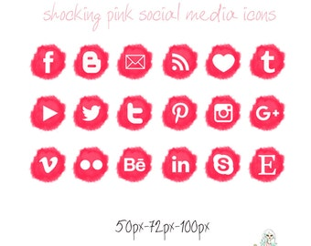Shocking Pink Social Media icons - pompon - Cute Blogger Wordpress Blog Buttons PNG