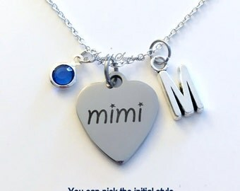 Mimi Necklace, Mimi Jewelry, Grandmother Gift for Mimi charm Initial Birthstone birthday Christmas present stainless steel engraved custom