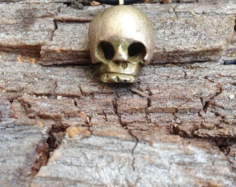 Skull pendant in bronze hand carved from wax  skull necklace, pirates skull necklace, rockabilly jewelry