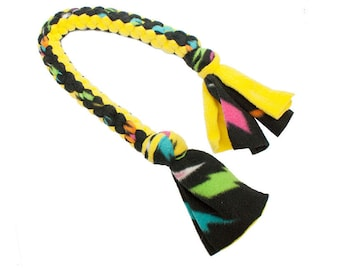 Dog Tug Fleece Toy - Yellow and Black with Neon Lightning Bolts