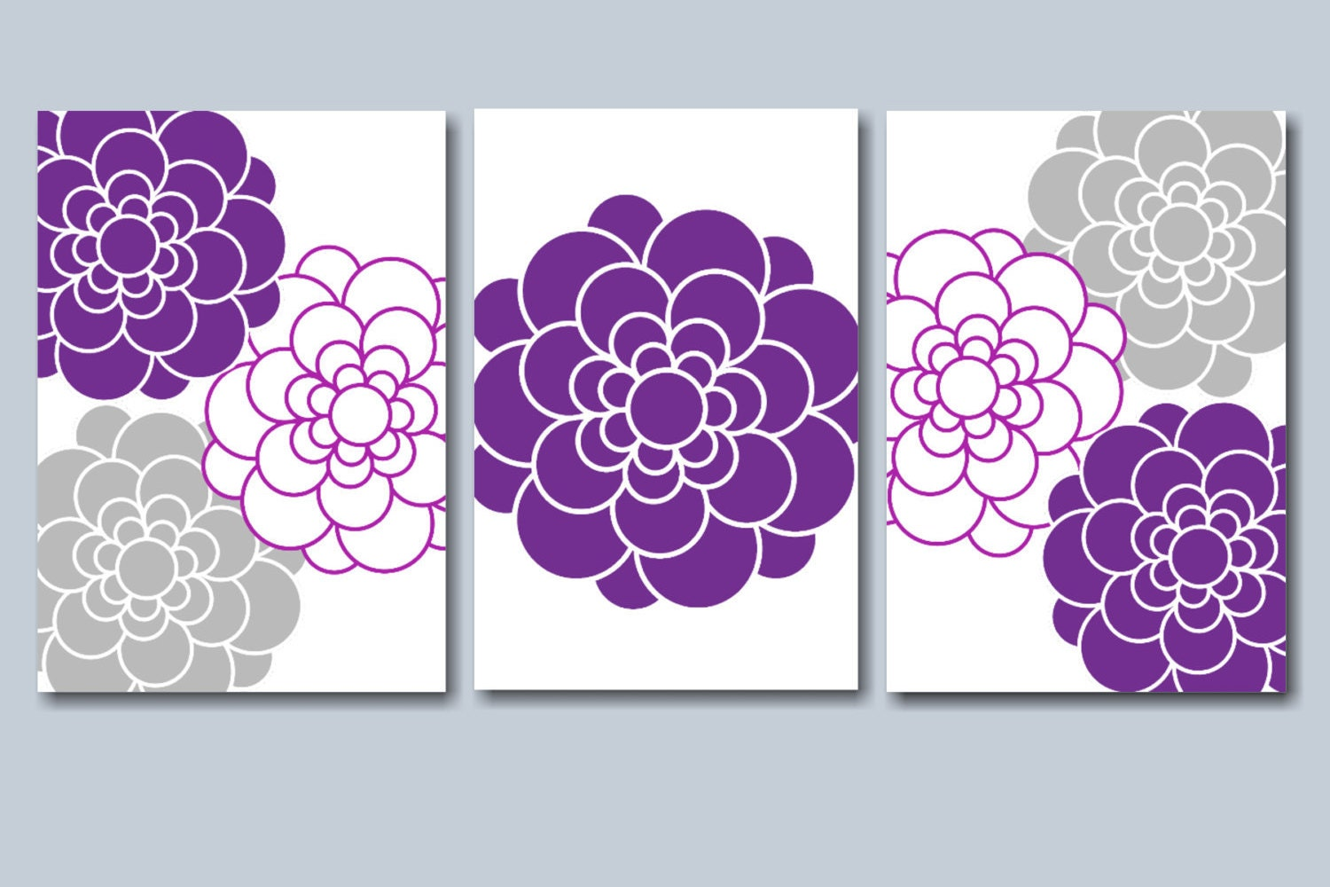 Purple Gray Wall Art Purple Gray Floral Wall By