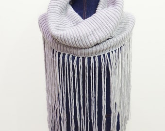 Knitted Lodge Cowl with Super Long Fringe, Knitted Snood, Infinity Scarf, Grey