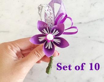 10 Paper Flower Boutonniere